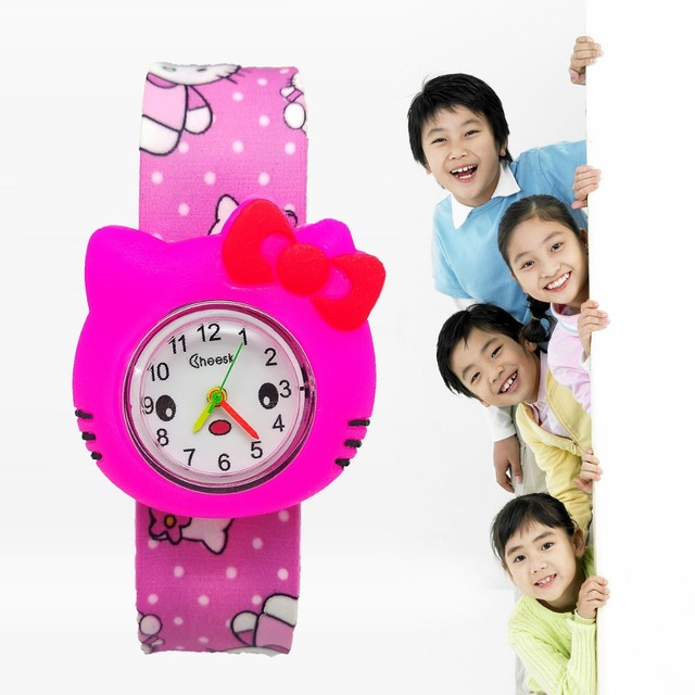 Drop shipping Cute Hello Kitty cat kids watches slap table buckleless watch wome