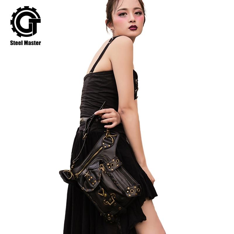 Womens Steampunk Çantaları Gothic Messenger Çanta Çiyin Çantası Ayaq Çantası Vintaj Moda Retro Rok Bel Paket Kiçik Ayaq Çantası 2018
