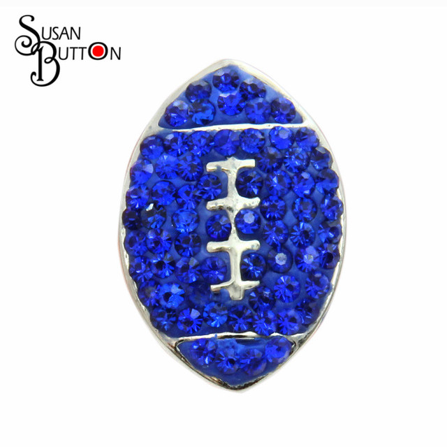 12pcs lot Interchangeable Sport Snap Susan ButtonJewelry Clay Rhinestone  Inlay Royal Blue Crystal rugby Ball 3d05094ea00f