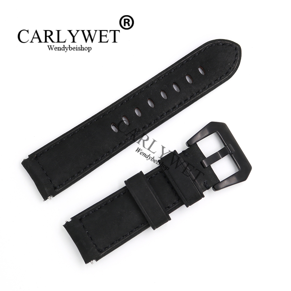 CARLYWET 22mm Black Real Leather Handmade Thick Vintage Replacement Wrist Watch Band Strap With Brushed Buckle For Samsung S3