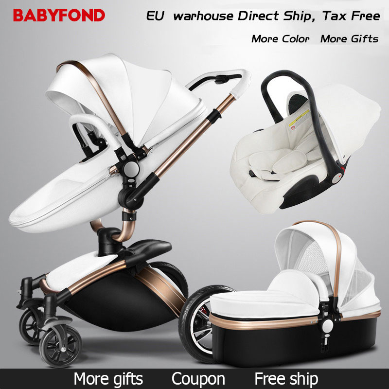 Babyfond  Free Ship! No Tax Luxury 3 in 1 Baby stroller Brand baby PU Leather Pram EU safety Car Seat Bassinet newborn Aulongift 1