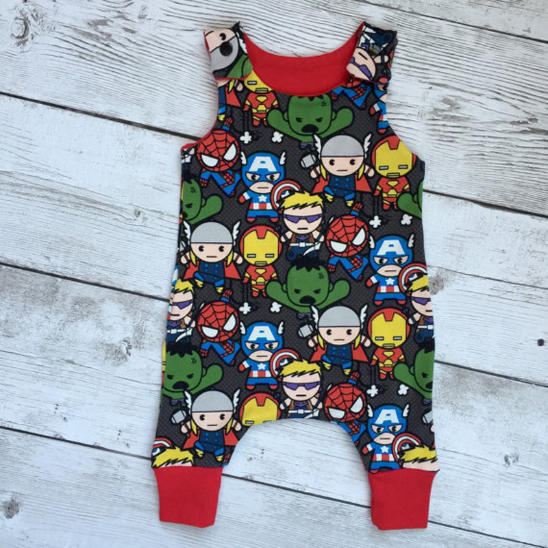 Baby Boy Girl Clothes Summer Sleeveless Super Heroes Print Romper Cotton Casual Outfit Toddler Kids Jumpsuit baby boy romper summer toddler kids baby girls boys printing sleeveless romper jumpsuit baby boy clothes