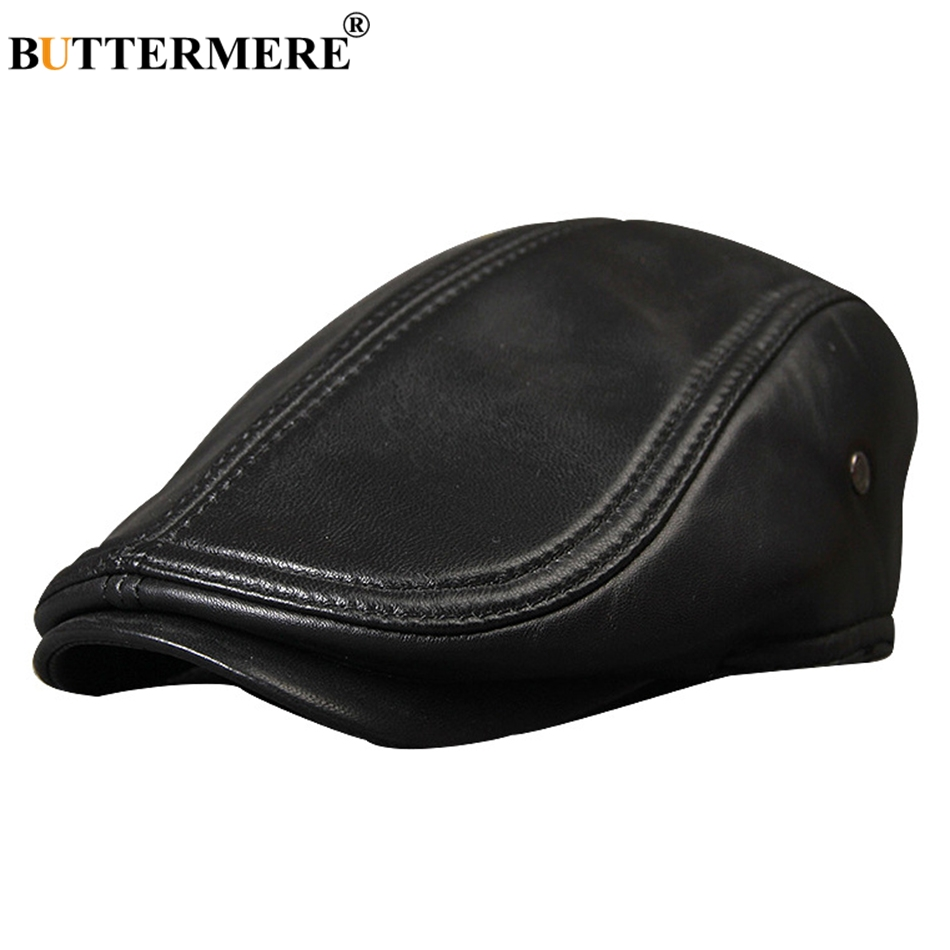 BUTTERMERE Black Beret Mens Leather Flat Cap Genuine Leather Warm Duckbill Hats Ivy Classic Autumn Winter Cabbie Cap Berets 2019