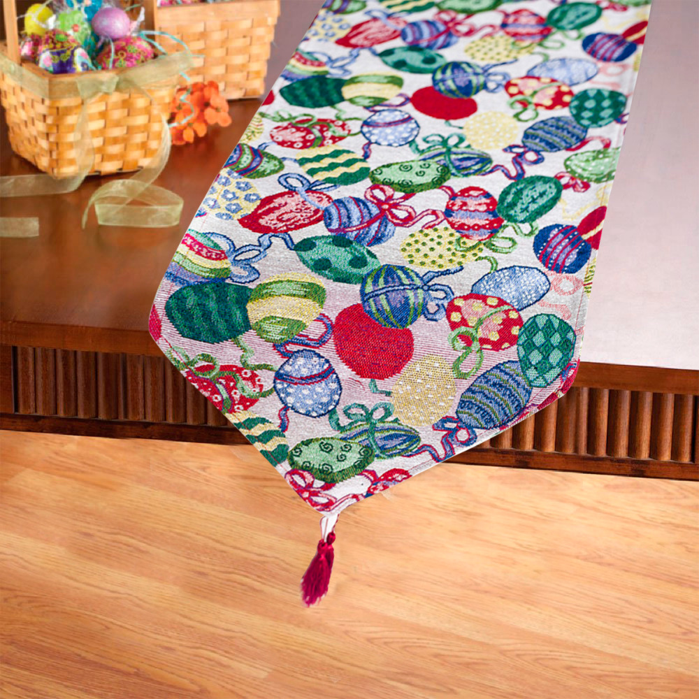1PC Flag Easter Tablecloths Cotton Linen Rabbit Bunny Table Flag Modern Party