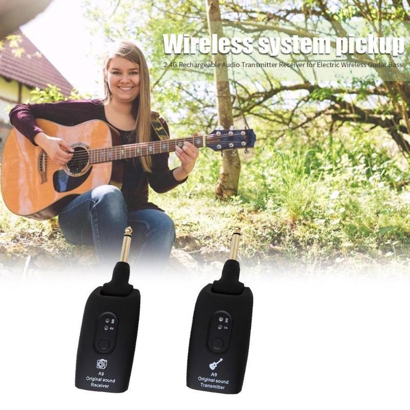 2,4 GHz Wireless Guitar System Sender A9 Empfänger USB Akku