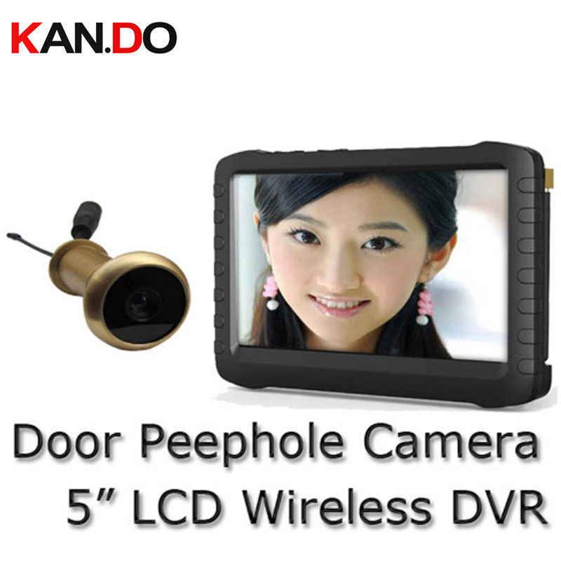 5.8G Wireless Door Peephole Camera w/ DVR receiver No interference 90 Degree VOA Motion Detect Recording Monitor peephole camera
