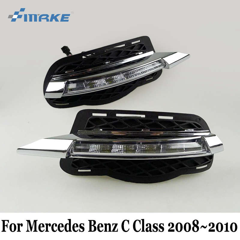 SMRKE DRL For Mercedes Benz C Classe W204 S204 C180 C200 C220 C250 C260 C300 C320 C350 2008~2010 / Car LED Daytime Running Light akd car styling for mercedes benz c class w204 led star light drl front grille led logo hollow emblem daytime running light