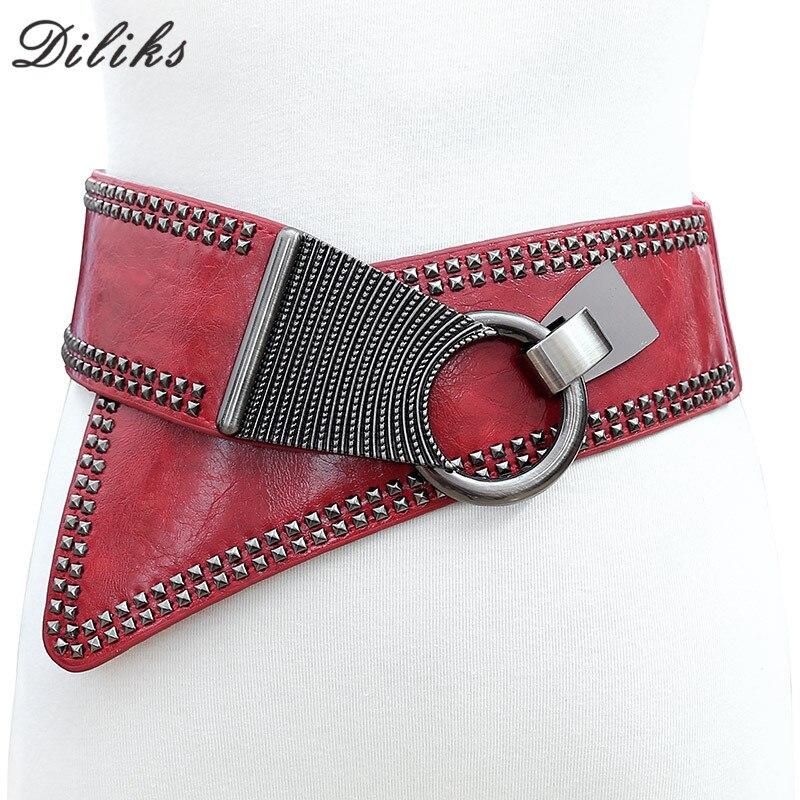 Diliks Punk personnalité femmes ceinture femme large ceinture décoration élastique mode Cummerbund sangle all-match dame taille ceintures