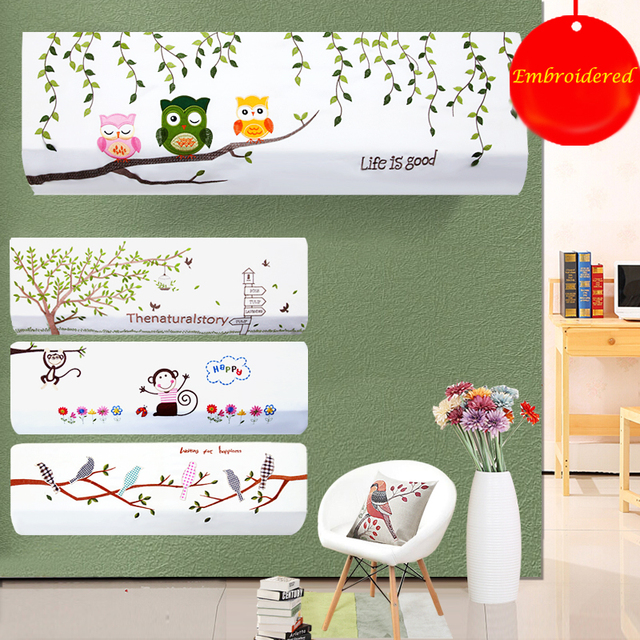 Indoor Air Conditioner Cover Protector Embroidery All Inclusive Wall  Hanging Hook With Elastic Sleeve Air