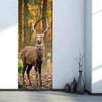 Forest Deer Self adhesive Wall Decals Imitation 3D Poster DIY Living Room Bedroom Wall Sticker PVC Door Stickers