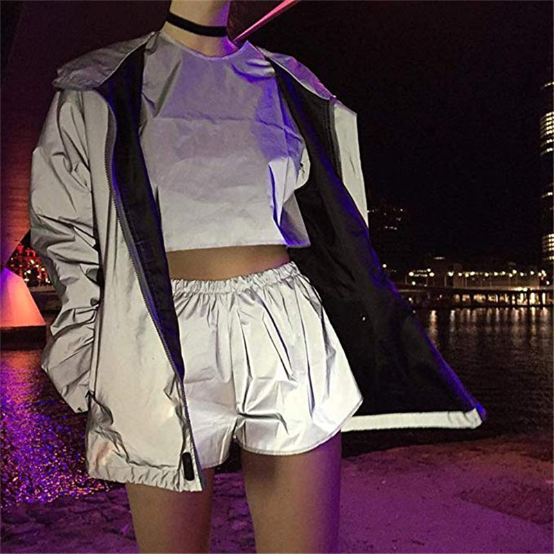 Hirigin New Women's Loose Reflective Shorts Ladies Fashion High Waist Female Casual Slim Hot Night Club Party Wear Trousers