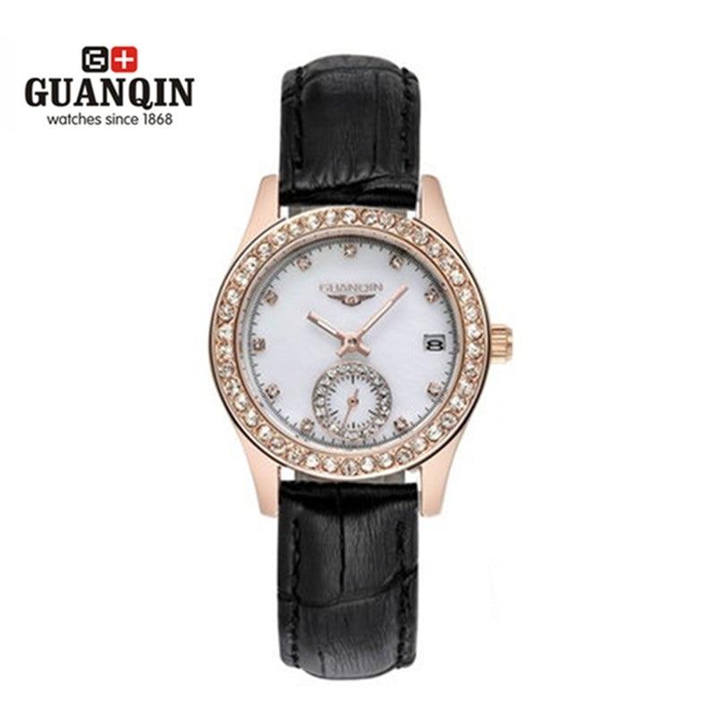 ФОТО GUANQIN Quartz Watch Top Brand Woman Sapphire Luxury Brand Diamond Luminous Ladies Watch Waterproof Leather Watches Montre Femme