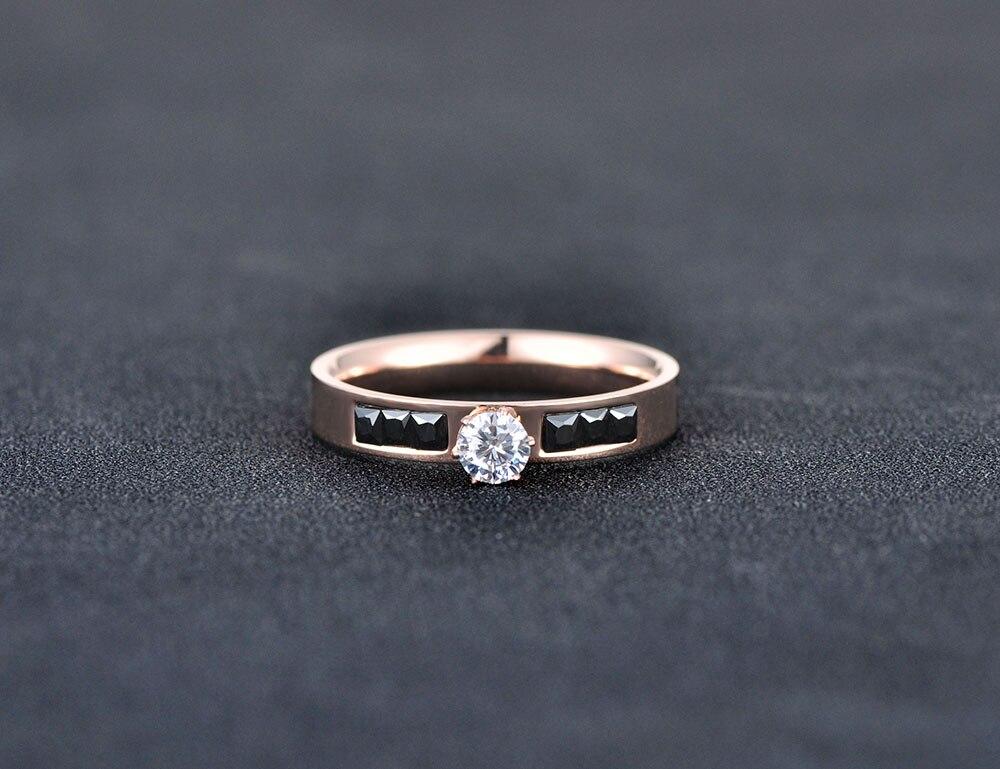 Lokaer Classic Titanium Steel Rings Micro White/Black Rectangle Cubic Zirconia Wedding Engagement Ring For Women R180120266R
