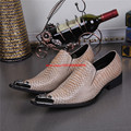 Korea Style Luxury Metallic Pointed Toe High Heels Mens Shoes Snake Skin Leather Mens Studded Loafers Size12