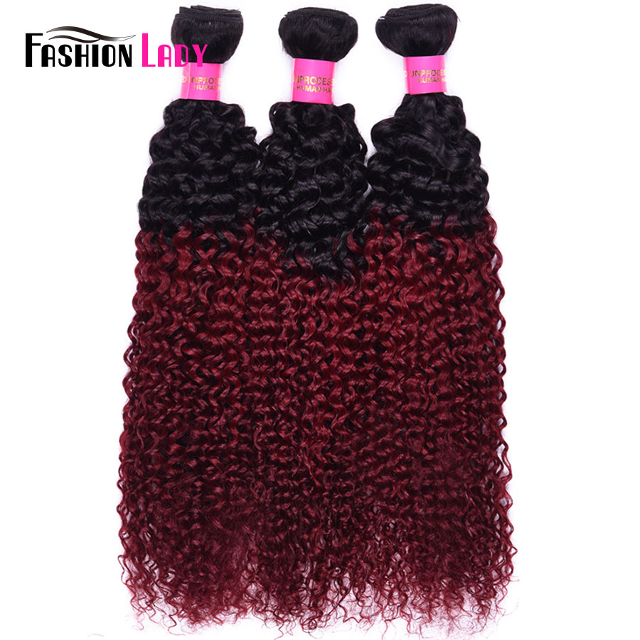 Fashion Lady Pre-Colored Ombre Malaysian Hair 3 Bundles 1b/burg Kinky Curly Hair Weaving Human Hair Bundles Burgundy Non-remy