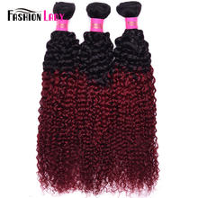 Fashion Lady Pre-Colored Ombre Malaysian Hair 3 Bundles 1b/burg Kinky Curly Hair Weaving Human Hair Bundles Burgundy Non-remy(China)