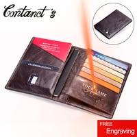 2018 Contact's Genuine Leather Vintage Wallet Passport Holder Travel Bag Coin Purse Credit Card Wallets For Men Brand Designer