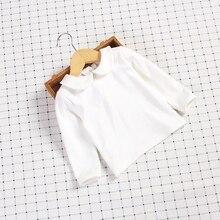 Mikistory Nova Primavera Blusas De Menina Mangas Compridas T-Shirts de Algodão Macio Para O Bebê Meninas Arco Roupas Bebe Infantil Impresso Branco Tops