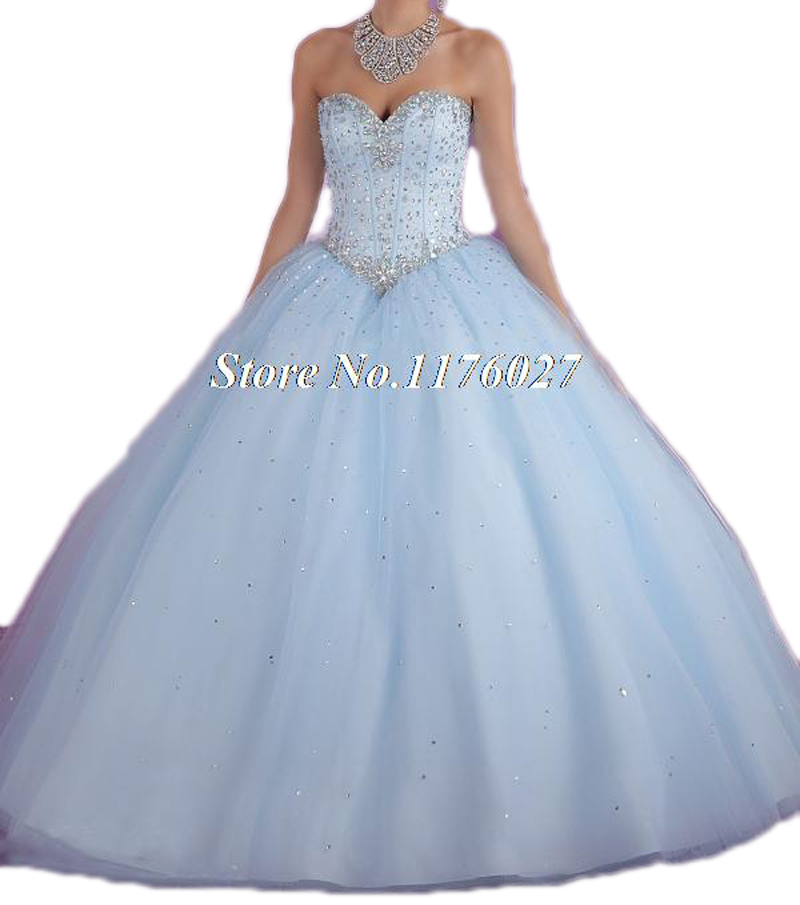 2017 Hot Pink Blue Quinceanera Dresses Ball Gown With Beads Cheap ...