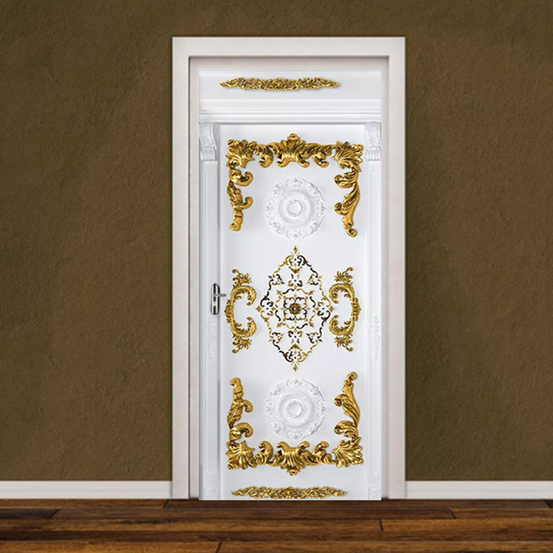European Style 3D Gold Carved Flower Door Sticker Living Room Bedroom Luxury Wallpaper Home Decor Poster PVC Self-Adhesive Mural
