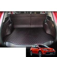 lsrtw2017 leather car trunk mat cargo liner for toyota rav4 2013 2014 2015 xa40 interior accessories sticker rug carpet
