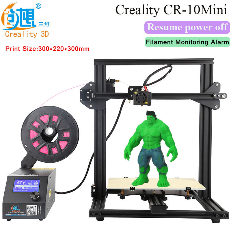 New CREALITY 3D Printer CR-10 Mini Big Print Size 300*220*300mm Support Resume after power off With Mystery Gift Free Shipping big big самосвал mini power worker mini kipper
