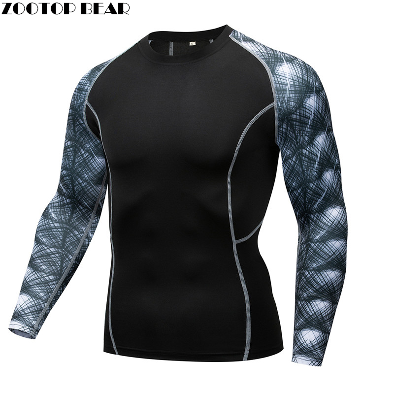 Line MMA Compression shirt Men shirt quick dry Elastic Base Layer Skin Tight Weight Lifting Crossfit Top Tee Rash guard Fitness