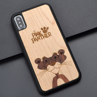 For Iphone 6 s 7 8 plus X Animal pink panther real Wood Phone Case Original Handmade For Huawei P10 plus wooden cover