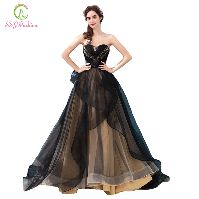 SSYFashion New Banquet Elegant Evening Dress Sexy Strapless Sleeveless Long  Black Lace Appliques Prom Party Gown 96c3e6c4fc19