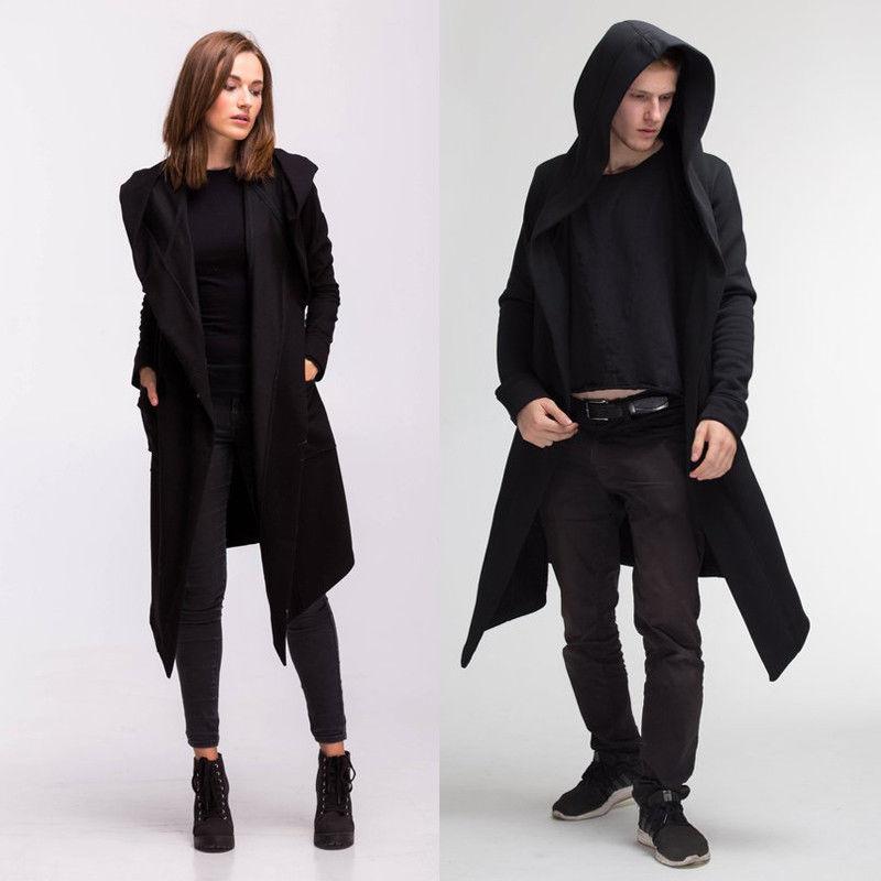 HTB1gv0HaynrK1Rjy1Xcq6yeDVXaa Unisex Casual Open Stitch Hooded Long Cloak Cape Coat Men Women Solid Pocket Loose Clock Coat