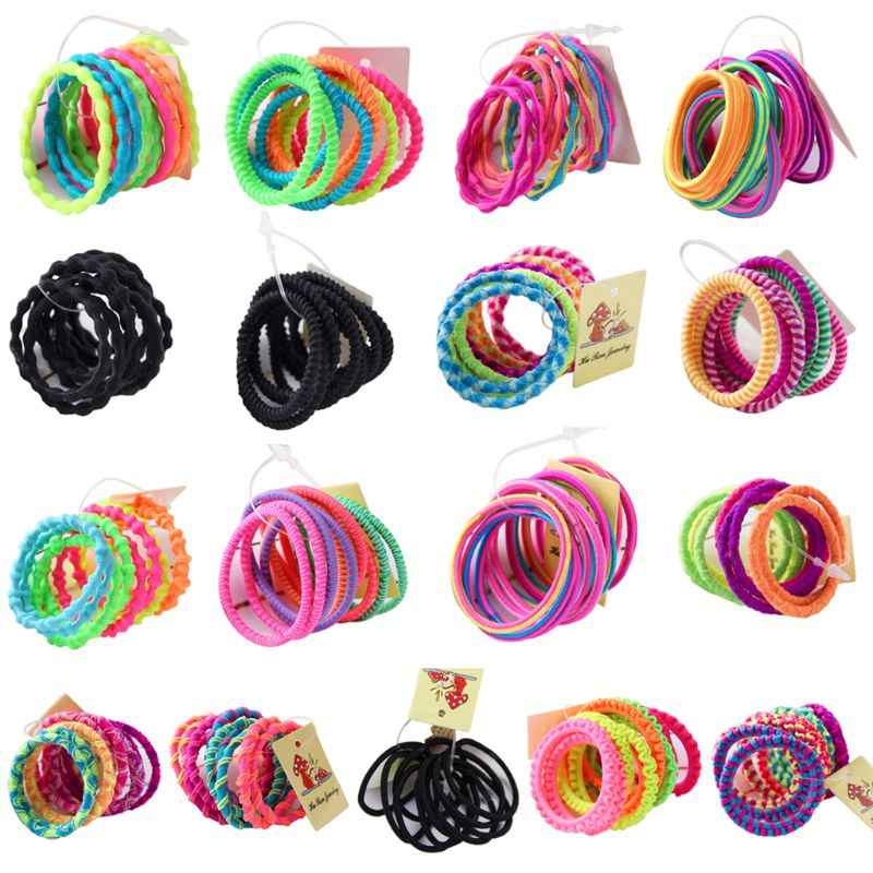 10Pcs Children Girls Elastic Rubber Band Fluorescent Colorful Hair Rope Wavy Spiral Lumpy Design High Elasticity Ponytail Holder