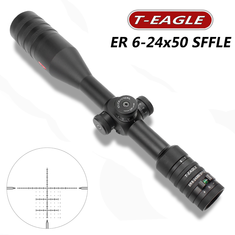 T-EAGLE ER 6-24x50 SFFLE Hunting Riflescope Red Dot Tactical Optical Sight Focal Rifle Scope Long Range Rifles Hunting Scope optical sight leapers 6 24x50 riflescope hunting aim outdoor jacht taveling leapers rifle scope pneumatic for hunting