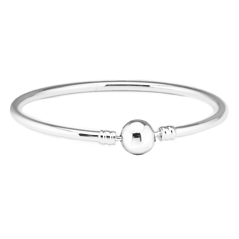 Classic Silver Bangles Authentic 925 Sterling Silver Bangle Bracelets Fit Charm Beads Diy Fine Jewelry for women Gift PFB007 ztung hb20 charm bracelets classic 925 sterling silver have many color for women s girls wonderful gift jewelry bangle