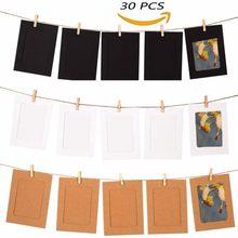 Marco de fotos de pared de papel, decoración de cartón blanco y negro, 3 /5 /6 /7 pulgadas con Clips, 30 Uds.