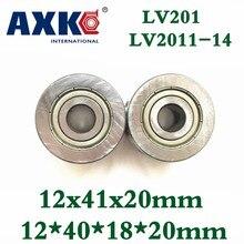 Axk-Rodamientos de rodillos guía de ranura en V Lv201 Zz Rv201/12-20 12*41*20mm Lv201-14 Zz 12*40*18*20mm bolas de precisión de doble fila Abec-5
