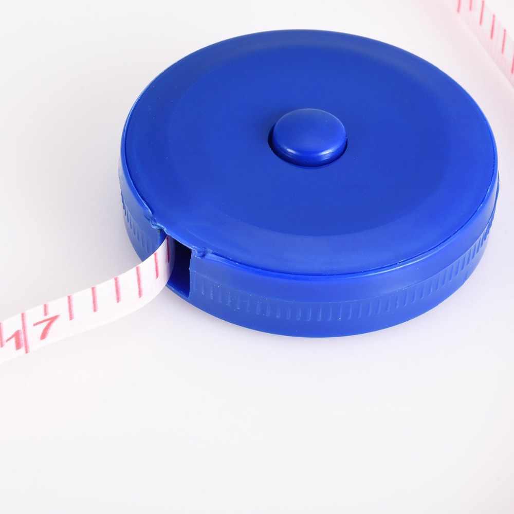1 pièce couleur bleue en plastique 150 cm bande règle Flexible mesure bobine règle avec bouton de commande pour mesure règle règles blanches
