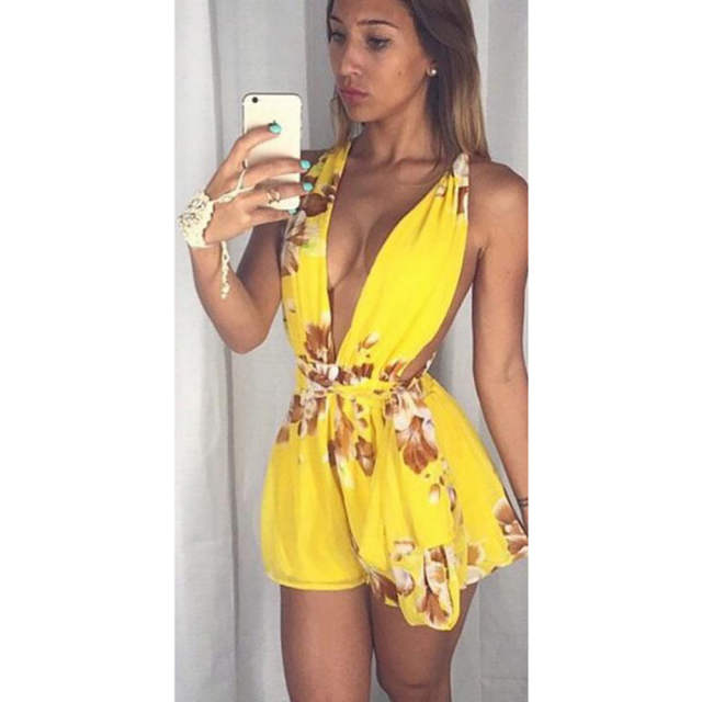 411de5b707 Sexy Yellow Playsuits Women Flower Print Deep V-neck Sleeveless Playsuit  Overalls Rompers Womens Jumpsuit