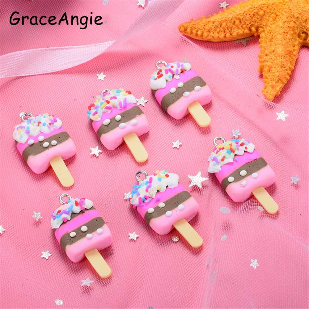 10pcs/pack ice cream Pendant Resin Necklace Earrings Bracelet Charms For Jewelry DIY Accessories Baby Child Handmade DIY Crafts