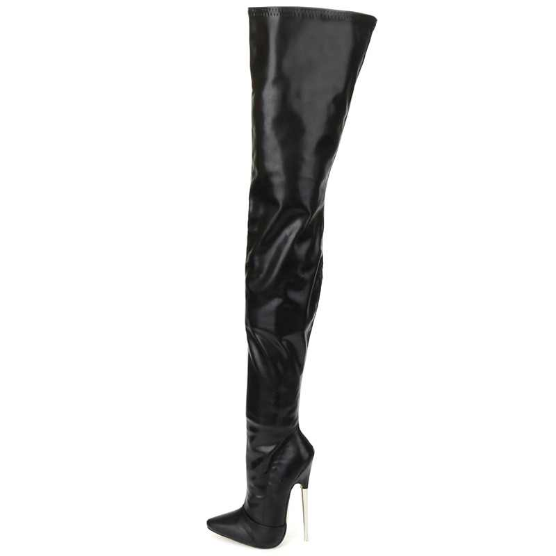 49ab952be9 jialuowei Crotch Boots with Stiletto Heels Women Winter Boots Patent Leather  Black Stretch Thigh High Boots