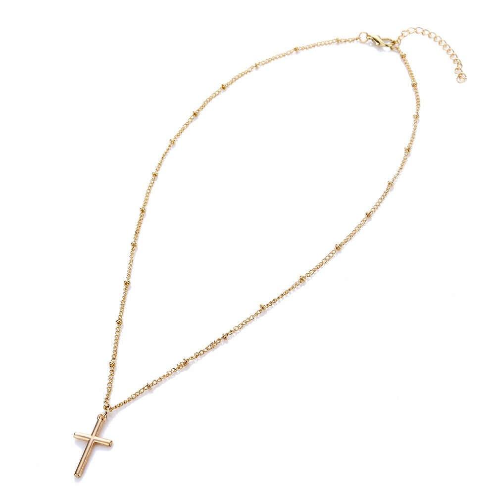 EN yeni yaz basit zincir İsa çapraz kolye kadın dini kolye kolye moda altın rengi gümüş renk takı