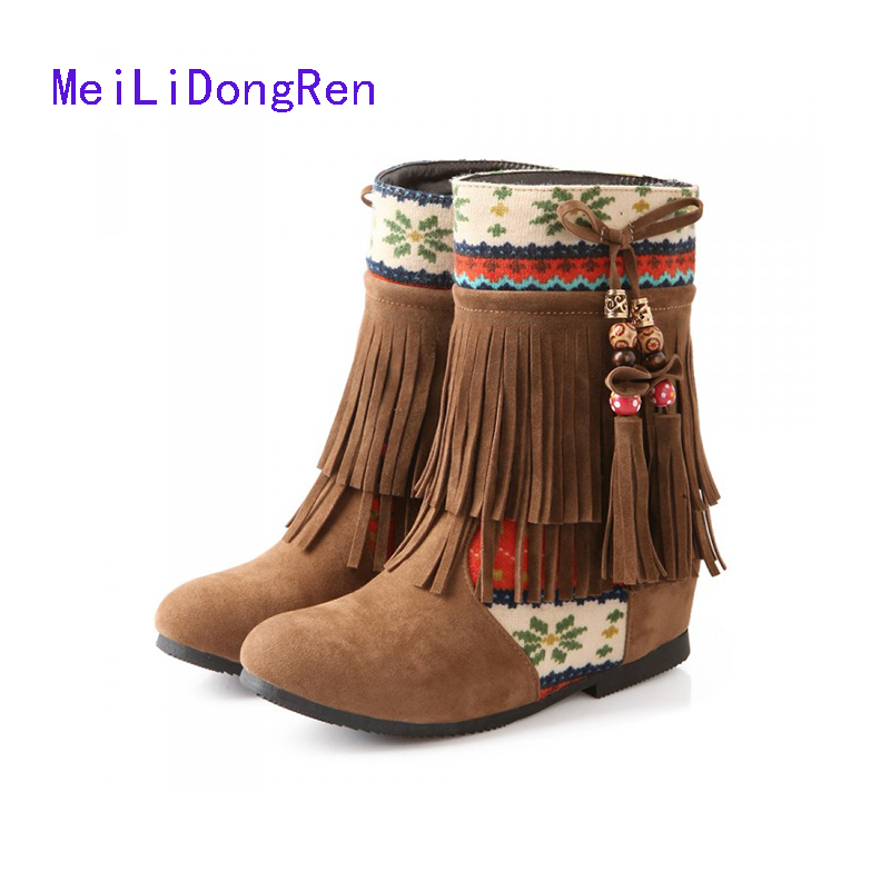 Size 33-43 Bohemia Women's Ankle Boots Suede Tassel Short Single Shoes Ladies Wedge Fringe Casual High Heels wisted x boots cowboy boots only size 11 left eur size 42 knight boots tassel short boots