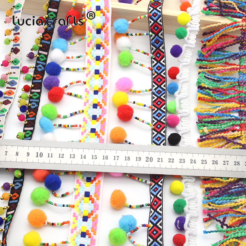Lucia Crafts 1y/lot Tassel Lace Ribbon Pompom Trim Fabric DIY Sewing Garment Shoes Bag Gift Crafts Materials Accessory N0302
