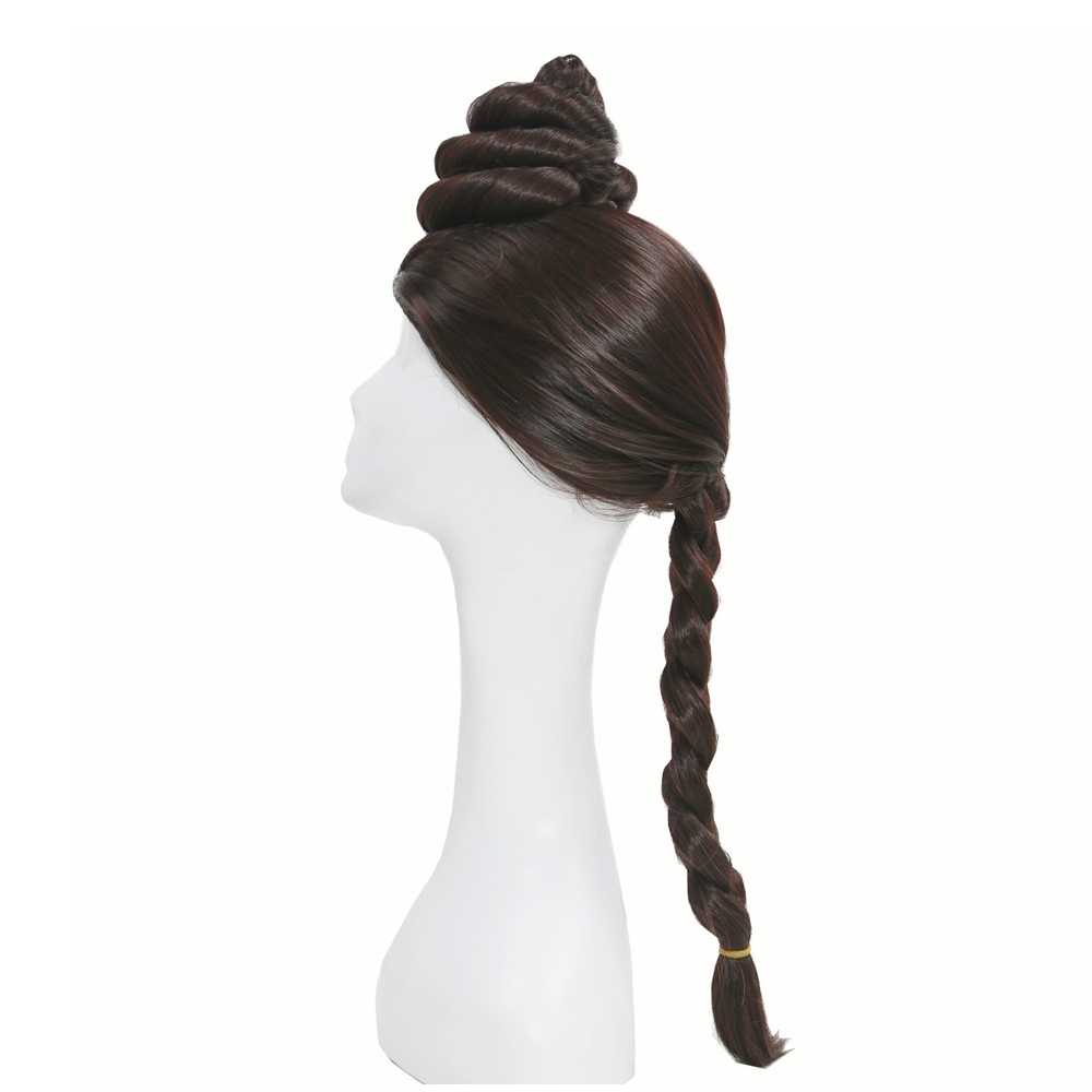 X-COSTUME Star Wars เจ้าหญิง Leia คอสเพลย์ Props กาแฟสีน้ำตาลยาวผมผู้หญิงเทศกาลเครื่องแต่งกาย Headwear อุปกรณ์เสริม