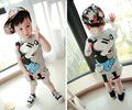 2 piece/set Baby Boy Clothing Set Fashin Design Wth Cute Cartoon Character Boys Suit Babies Top+Pant From 6M-2Year For summer
