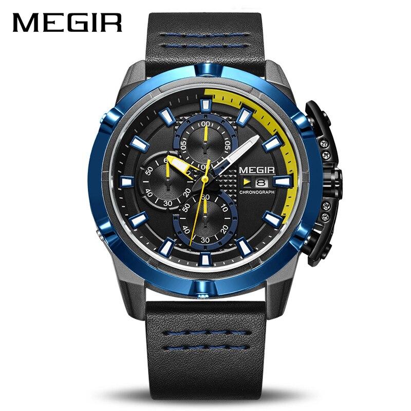 f8f933a2b99 MEGIR Chronograph Men Quartz Sport Watch Relogio masculino Militar Relógios  Relógio Do Exército Dos Homens Top Marca de Luxo Relógio Criativo Dos  Homens em ...