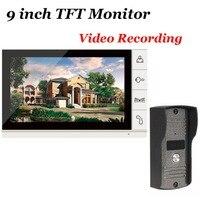 9 Inch TFT Monitor LCD Color SD Card Video Record Door Phone DoorBell Intercom System Night