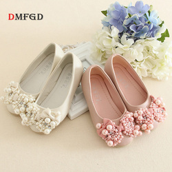 Luxury Children Princess leather party shoes for girls flower pearls beaded shoes girl child low heel dance shoes 25-35