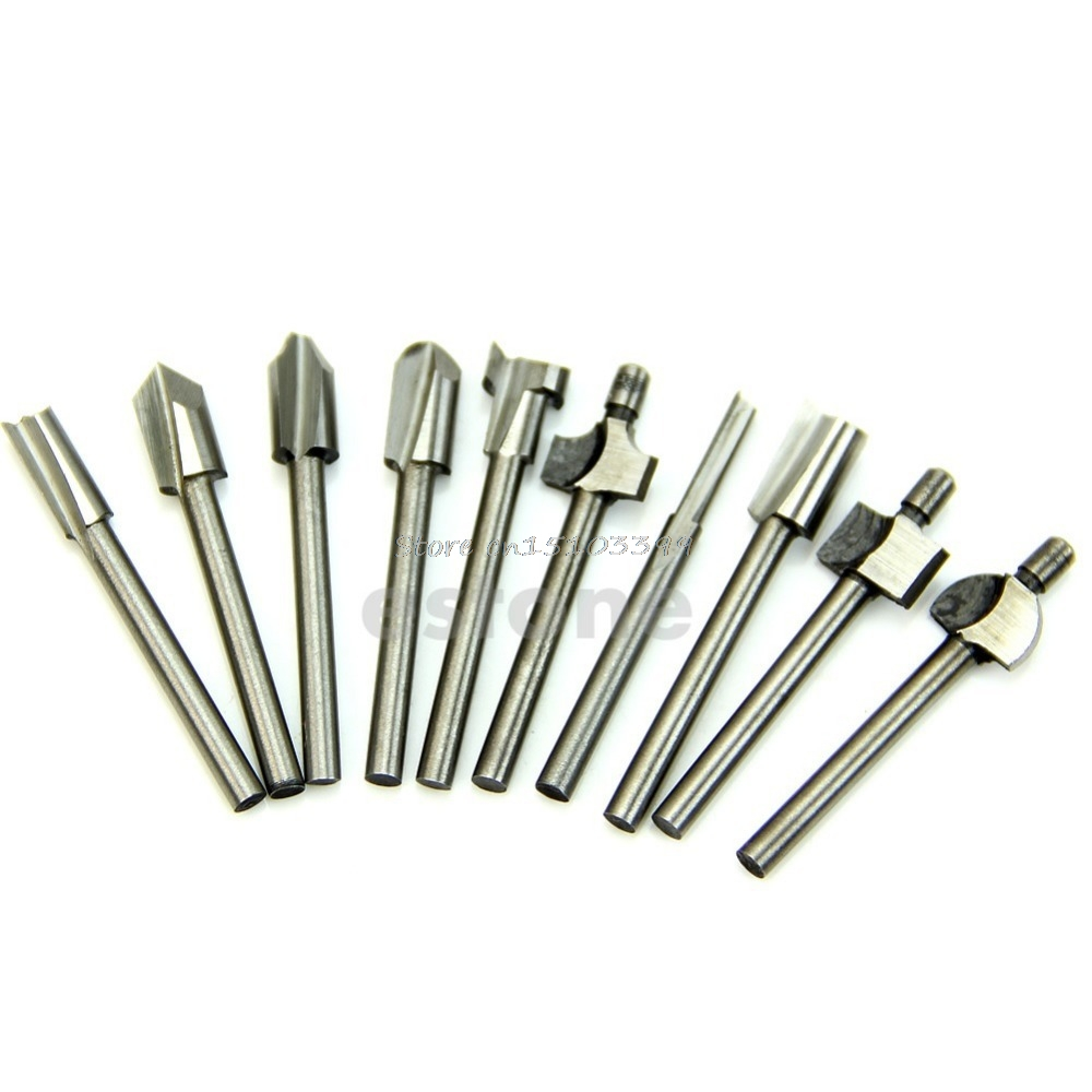10Pcs 1/8 3mm HSS Router Bits Wood Cutter Milling Fits Dremel Rotary Tool Set G08 Drop ship 10pcs hss routing router grinding bits burr file set milling cutter 1 8 inch shank for dremel engraving wood rotary tool