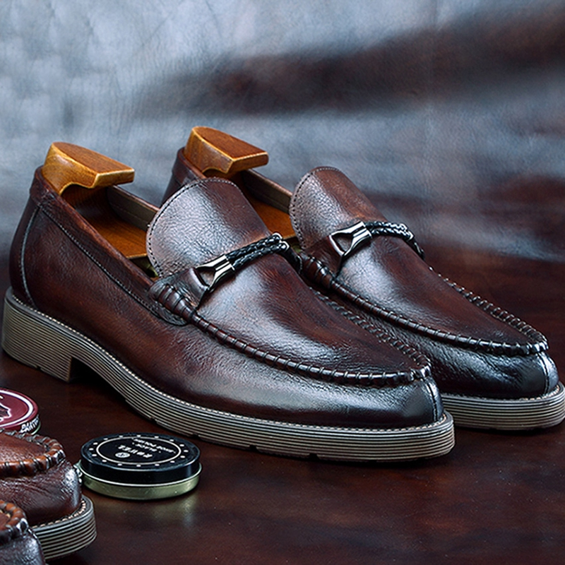 New Classic Round Toe Man Casual Retro Shoes Natural Genuine Leather Slip on Men's Loafers Handmade Platform Footwear BGQ116