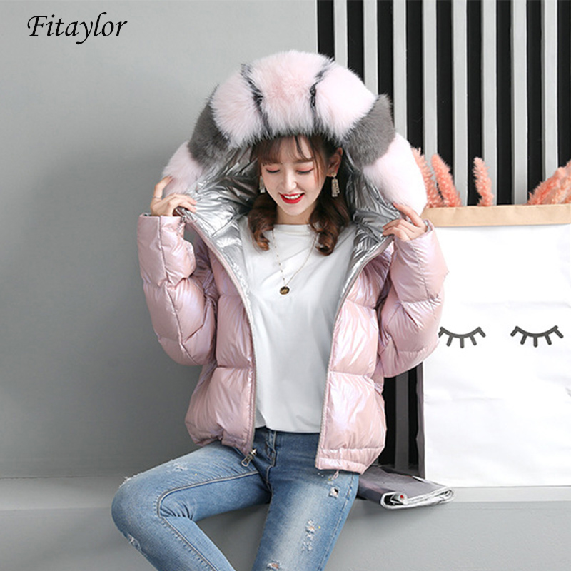 Fitaylor Winter Women Jacket Real Fur Coat Natural Fox Fur Collar Loose Coat Gold Sliver White Double Sided Duck Down Jacket